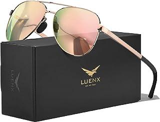 LUENX Aviator Sunglasses for Men Women-Polarized Driving UV 400 Protection 60 MM