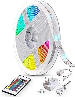 B.K.Licht 10m Tira LED autoadhesiva, 16 RGB Flexibles Multicolor, LED Kit Completo con mando a distancia, Luz Ambiental