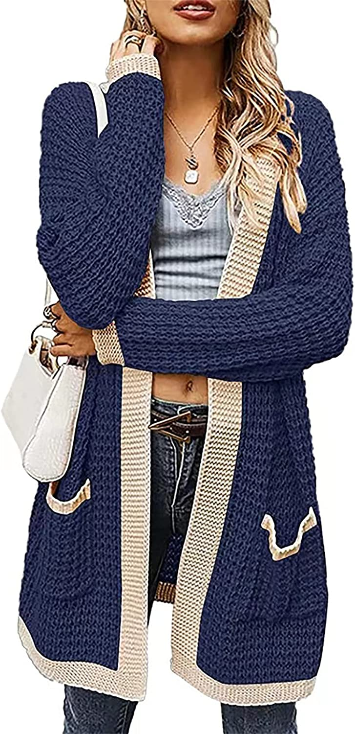 Laixp Women's Long Sleeve Solid Open Front Chunky Knit Cardigan Sweater with Pockets Casual Slim Comfort Coat