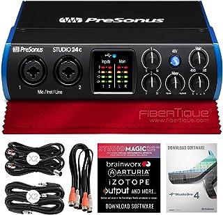 PreSonus Studio 24C 2x2 USB-C Audio MIDI Interface + Cables and Fibertique Microfiber Cleaning Cloth