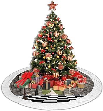 Soft Christmas Tree Mat Alice in Wonderland,Welcome Wonderland Black and White Floor Tree Landscape Mushroom Lantern,Multi Ch