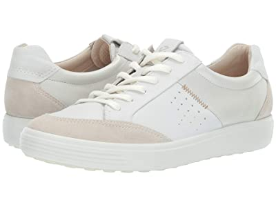 ECCO Soft 7 Leisure Sneaker (Shadow White/White/White Suede/Cow Leather/Cow Leather) Women