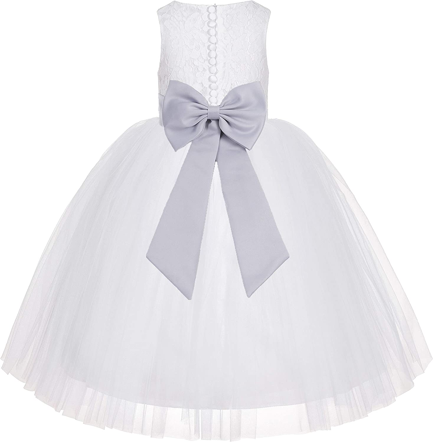 White Floral Lace Flower Girl Dress Beauty Pageant Gown Formal Princess LG7