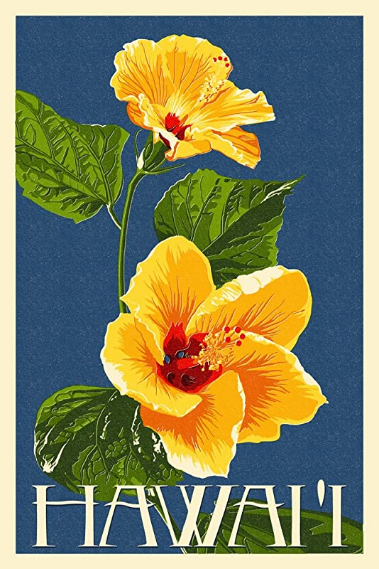 Hawaii Yellow Hibiscus Flower Letterpress 12x18 Art Print Wall Decor Travel Poster