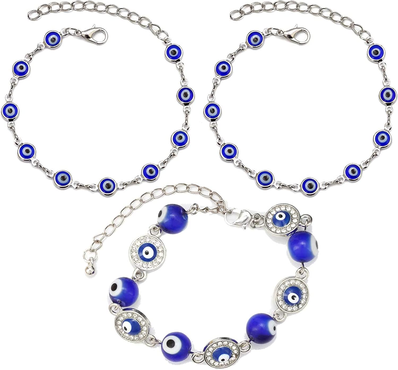 3Pcs Enamel HeartShaped Rhinestone Evil Bracelets Amulet Eye Fashionable Direct store Wat