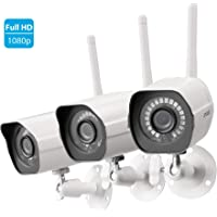 3-Pack Zmodo Full HD 1080p Outdoor Wireless Security Camera with IR Night Vision, Motion Alerts, Remote View (White)