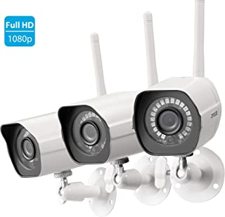 Zmodo Full HD 1080p Outdoor Wireless Security Camera System, 3 Pack Smart Home Indoor Outdoor WiFi IP Bullet Cameras with IR Night Vision, Motion Alerts, Remote View, White, Compatible with Alexa