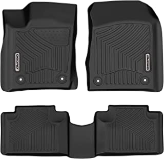 oEdRo Floor Mats Compatible for 2016-2020 Jeep Grand Cherokee/Dodge Durango, Unique Black TPE All-Weather Guard Includes 1st and 2nd Row: Front, Rear, Full Set Liners