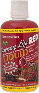 NaturesPlus Source of Life Red Liquid - 30 fl oz - Mixed Berry Flavor - Red Superfood Whole Food Multivitamin, Antioxidant...