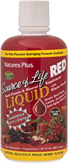 NaturesPlus Source of Life Red Liquid - 30 fl oz - Mixed Berry Flavor - Red Superfood Whole Food Multivitamin, Antioxidant - Anti-Aging Nutrients - Energy Boost - Vegetarian, Gluten-Free - 30 Servings