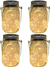 CHBKT 4-Pack Solar-powered Mason Jar Lights (Mason Jar / Handle Included),20 Bulbs Jar..