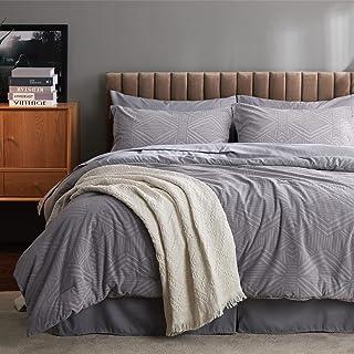 """سرویس خواب Bedsure Queen Comforter ، تخت ژاکارد 8 تکه در سرویس خواب با کیسه راحتی و ملحفه ، مجموعه تخت خواب های جایگزین خاکستری برگشت پذیر همه فصل ها (88 """"x88"""")"""
