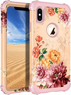 LONTECT Compatible iPhone Xs Max Case Floral 3 in 1 Heavy Duty Hybrid Sturdy Armor High Impact Shockproof Protective Cover Case for Apple iPhone Xs Max 6.5 Display, Rose Gold/Gold Flower