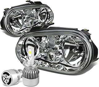 For VW Golf MK4 / Cabrio Pair of Chrome Housing Clear Corner Headlight + H7 LED Conversion Kit W/Fan