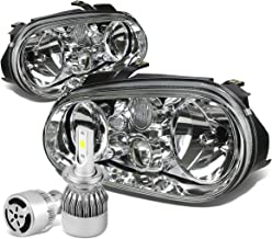 For VW Golf MK4 / Cabrio Pair of Chrome Housing Clear Corner Headlight + H7 LED Conversion Kit W/Fan