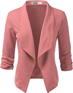 Sponsored Ad - Doublju Womens Casual Work Ruched 3/4 Sleeve Open Front Blazer Jacket with Plus Size