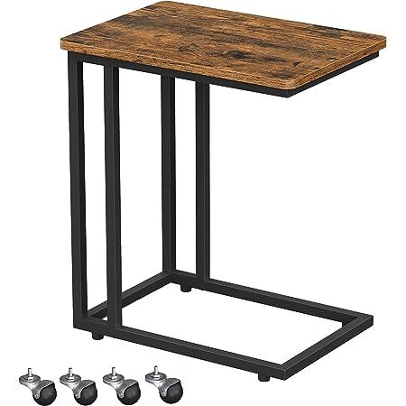 VASAGLE Table d'appoint, Bout de canapé, Table mobile, avec cadre en acier et roulettes, montage facile, style industriel, pour salon, chambre, balcon, Marron Rustique et Noir LNT50X