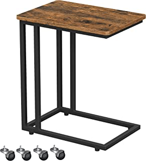 VASAGLE End Table, Side Table, Coffee Table, with Steel Frame and Castors, Easy Assembly, Industrial, for Living room, Bed...