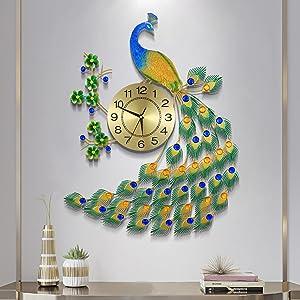 JUGV Luxury Peacock Wall Clocks Large Gold Wall Clock for Living Room Decor Silent Irregular Fashion Design Metal Elegant Big Decorative Wall Clocks for Bedroom Kitchen