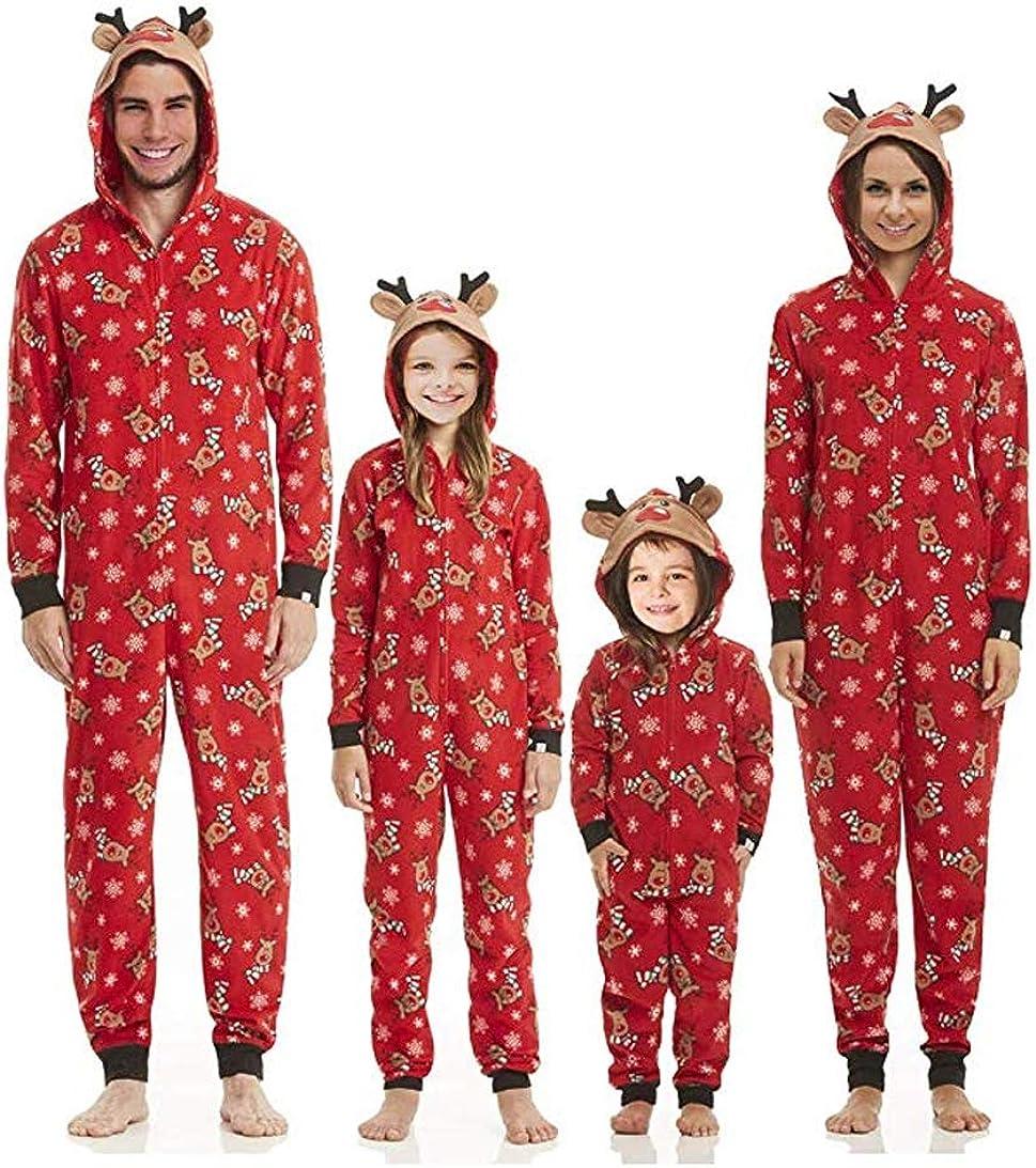 Matching Family Christmas Pajama Sets, Deer Footed Onesies Sleepwear Hoodie Jumpsuit (Men, L)