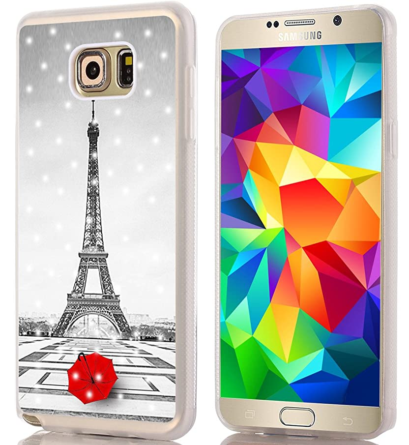 Note 5 Case Eiffel Tower/IWONE Designer TPU Rubber Durable Compatible Cover Shockproof Replacement for Samsung Galaxy Note 5 + Get Lost in Paris Creative Romantic Eiffel Tower Design