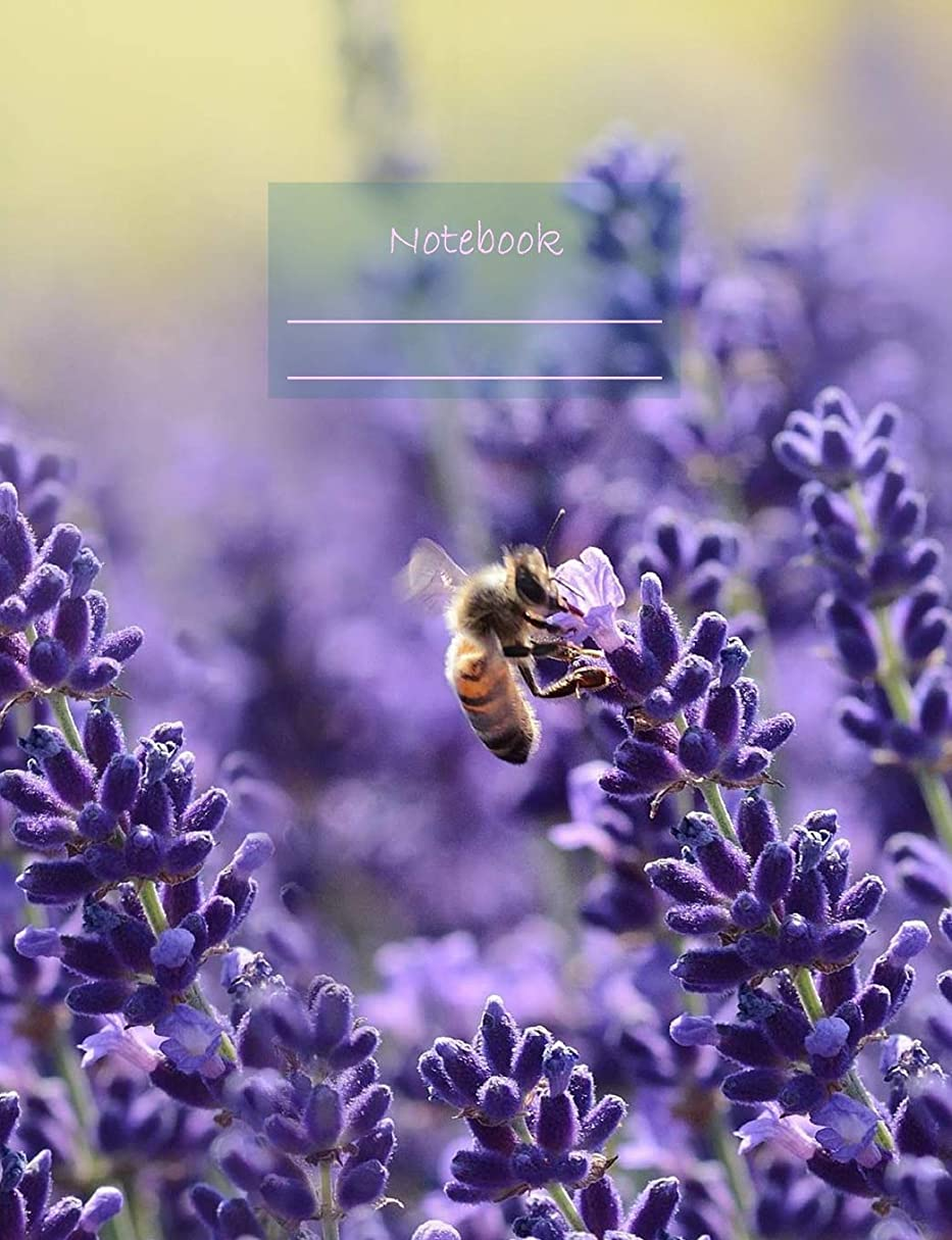 """スクラップブック崖家庭教師Notebook: Composition Notebook. College ruled with soft matte cover. 120 Pages. Perfect for school notes, Ideal as a Journal or a Diary. 9.69"""" x 7.44"""". Great gift idea. (Bee on lavender cover)."""