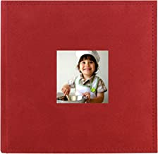 PINGGUO Zoview Sewn Bonded Photo Album Book, Family Album, Suede Cover Pocket Photo Album, 200 Photos Hold 4X6 Photos Horizontally, Two Photos per Page, red