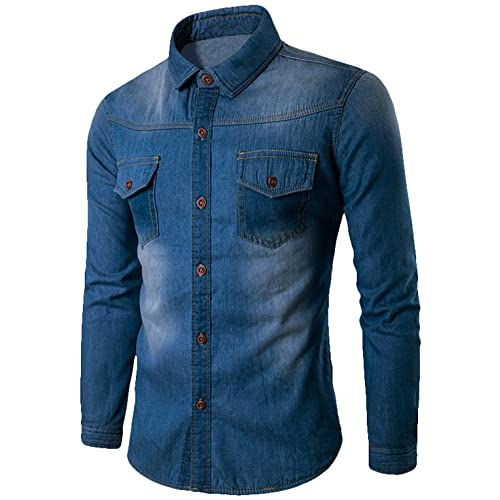 eb596beb3c800 Youhan Men's Vintage Fitted Long Sleeve Denim Shirt