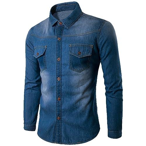 2576ddc379 Youhan Men s Vintage Fitted Long Sleeve Denim Shirt