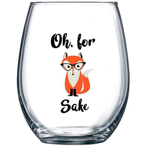 Oh For Fox Sake 15 Oz Stemless Funny Wine Glass