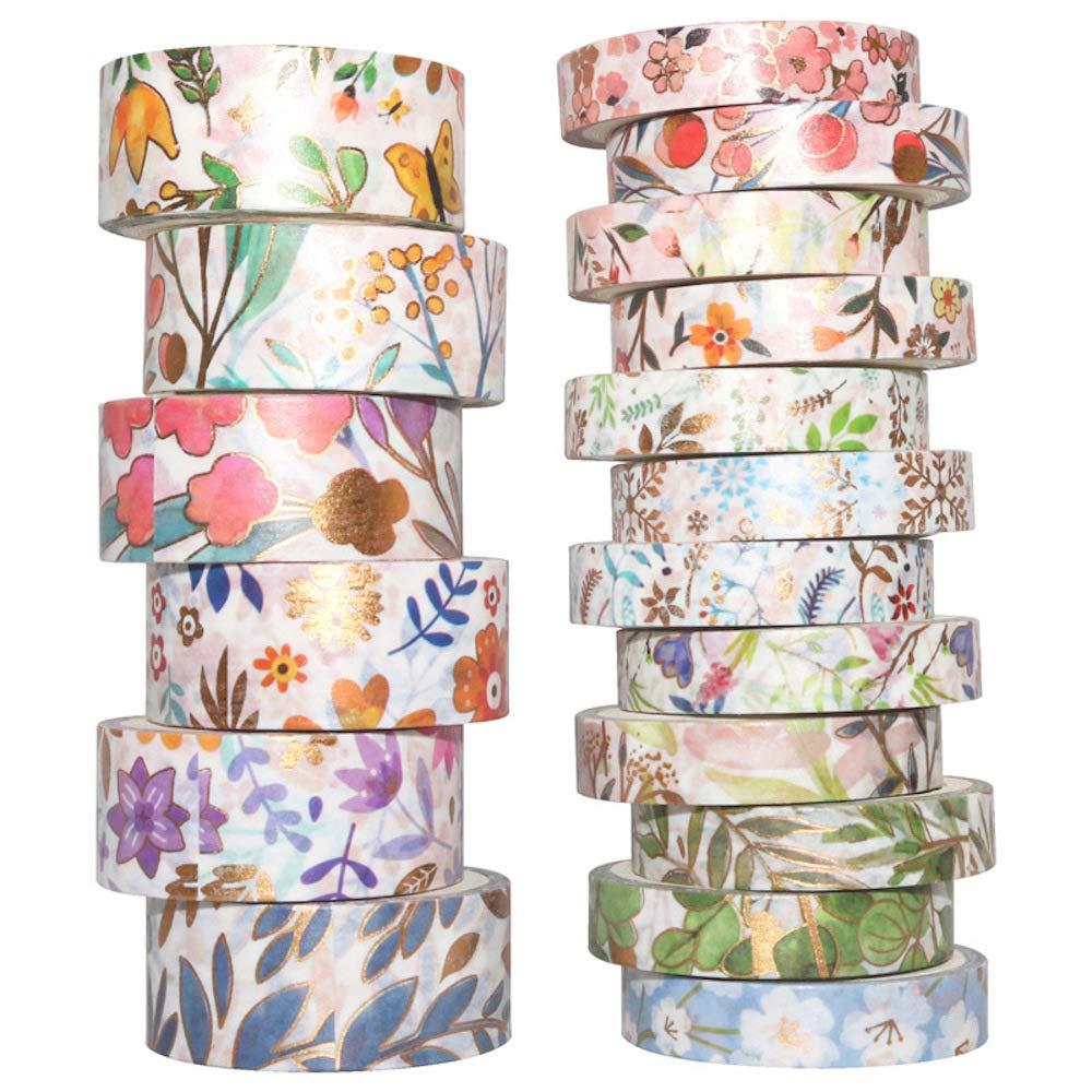 YUBBAEX Ranking TOP7 Floral Gold Washi Tape Masking VSCO Special price Decora Foil Set