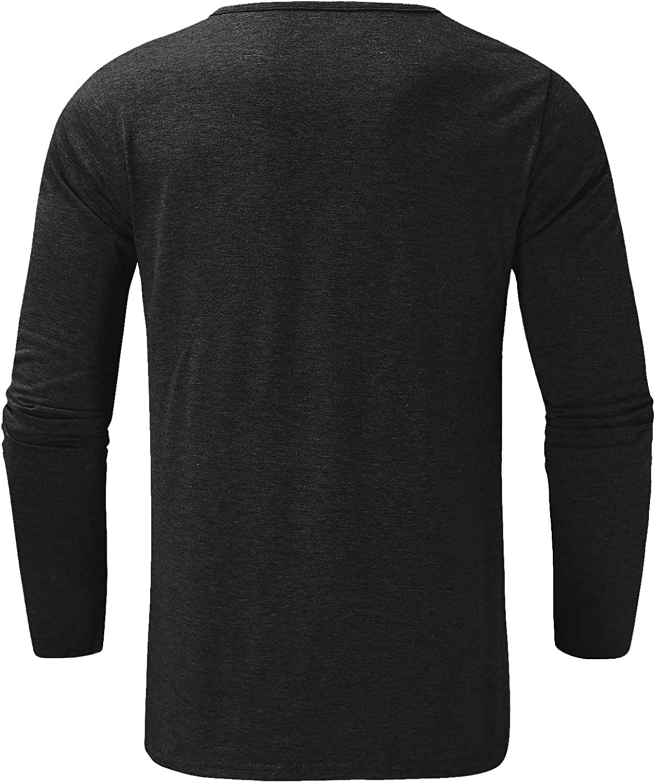 LEIYAN Mens Casual Slim Fit Henley Shirts Long Sleeve Regular-Fit Lightweight Cotton Active Jerseys Baseball T-Shirt