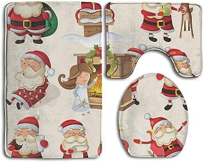Gdrh Three Piece Bathroom Mat Set Set of Santa Clauses Ready for Christmas Fashion Bathroom Rug Mats Set 3 Piece Anti-Skid Pads Bath Mat + Contour + Toilet Lid Cover