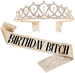 Birthday Bitch Sash & Rhinestone Tiara Kit - Gold Glitter Birthday Gifts Birthday Sash for Women Birthday Party Supplies