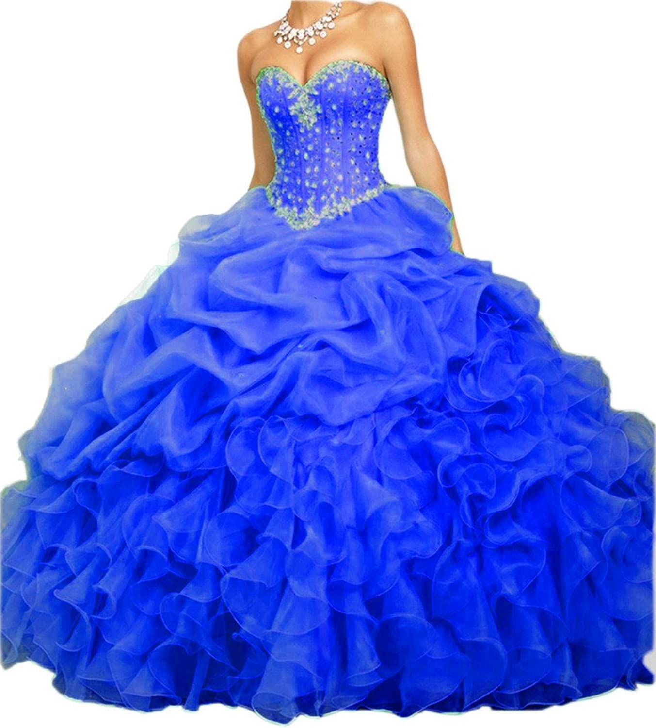 Zhu Li Ya Women's Beaded Organza Quinceanera Dresses 2016 Formal Prom Dress