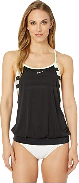 Sport Stripe Layered Sport Tankini