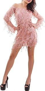 Toocool - Vestito Donna Miniabito Paillettes Elegante Sera Spalle Nude Sexy Nuovo GI-2449