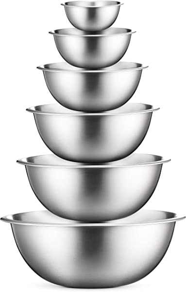 Premium Stainless Steel Mixing Bowls Set Of 6 Stainless Steel Mixing Bowl Set Easy To Clean Nesting Bowls For Space Saving Storage Great For Cooking Baking Prepping