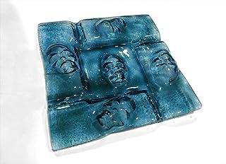 SKULL - Cenicero cuenco con calaveras de vidrio azul artesanal