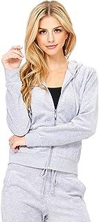 Ambiance Women's Velvet Classic Zip Up Hoodie Jacket