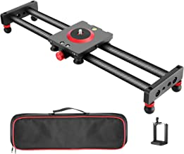 Neewer Camera Slider Carbon Fiber Dolly Rail, 19.7 inches/ 50 Centimeters with 4 Bearings..