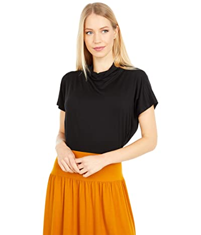 Eileen Fisher Funnel Neck Cap Sleeve Top (Black) Women