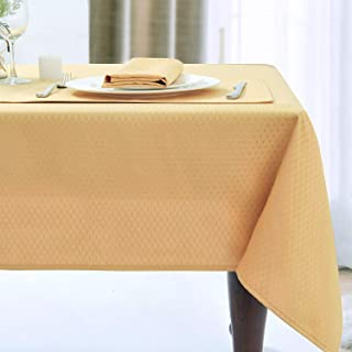 JUCFHY Jacquard Morrocan Rectangle Table Cloth Oil-Proof Spill-Proof and Water Resistance Washable Tablecloth,Decorative Fabric Table Cover for Outdoor and Indoor Use,60 x 144 Inch, Gold