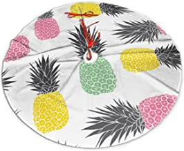 smartgood Cute Pastel Geometric Pineapples Vector Pattern Background Christmas Tree Skirt 48 Inch Rustic Xmas Tree Holiday Decorations for Party Christmas