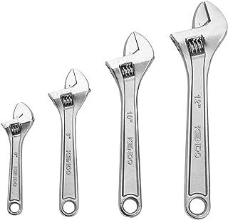 Kendo 4pcs Heavy Duty Adjustable Wrench Set – Drop Forged Heat Treated Chrome Vanadium Steel – Set Contains 6