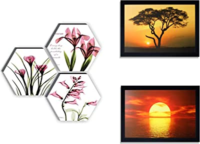 SAF Up Textured Flower Designer 6Mm MIFF Hexagon Set of 3 Digital Reprint Painting (12 Inches X 12 Inches) & Special Effect Textured Sunrise Up Print Painting (Sanfo280, 20 cm X 3 cm X 30 cm) Combo