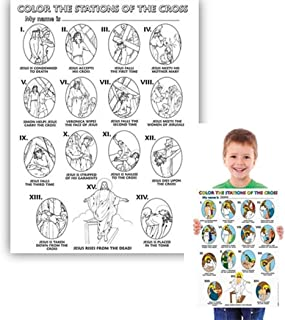 Christian Brands Catholic The Stations of The Cross Color Your Own Poster Arts and Craft Activity, Pack of 50