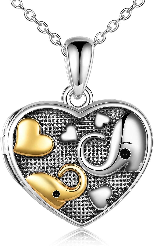 YFN 925 Sterling Silver Mom Horse Elephant Sloth Heart Pendant N