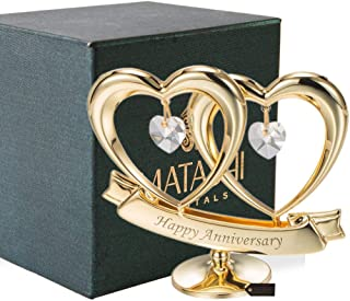 Matashi 24K Gold Plated Happy Anniversary Double Heart Figurine Ornament with Genuine Crystals (Clear Crystal) - Wedding G...