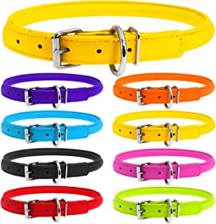 WAUDOG Rolled Leather Puppy Collar for Small Dogs - 6 2/3-7 3/4 inches Neck Size - Rolled Dog Collar Puppy Boy & Girl Puppy Collars - Puppy Collars for Large Breed - Puppy Collar Boy Plus